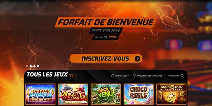 L'interface de Casino Intense