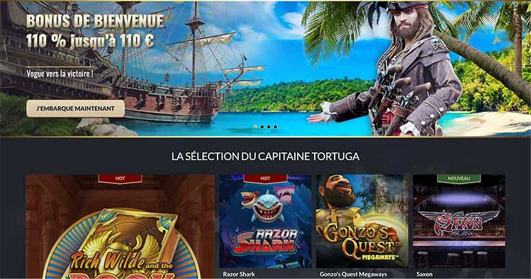 L'interface de Tortuga Casino