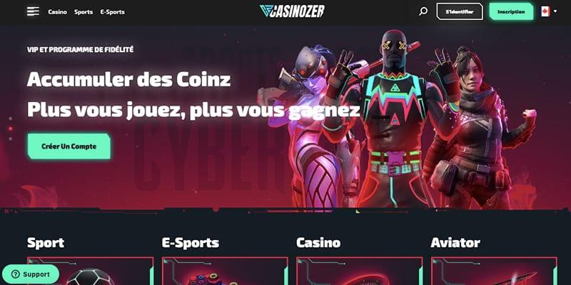 avis casinozer interface