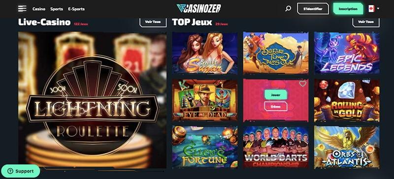 casinozer jeux live