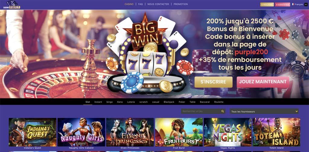 screenshot casino purple interface