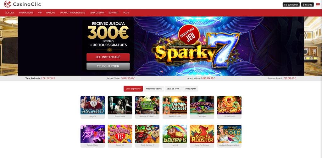 screenshot casinoclic interface