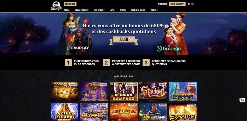 screenshot harrys casino interface