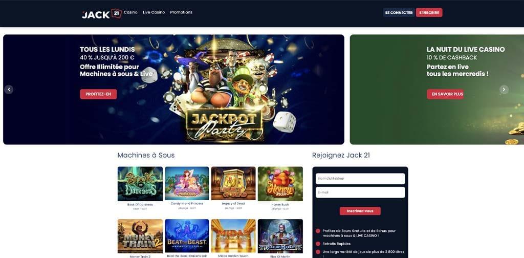 screenshot jack21 casino interface