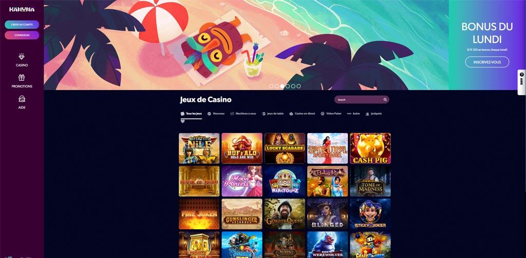 screenshot kahuna casino interface