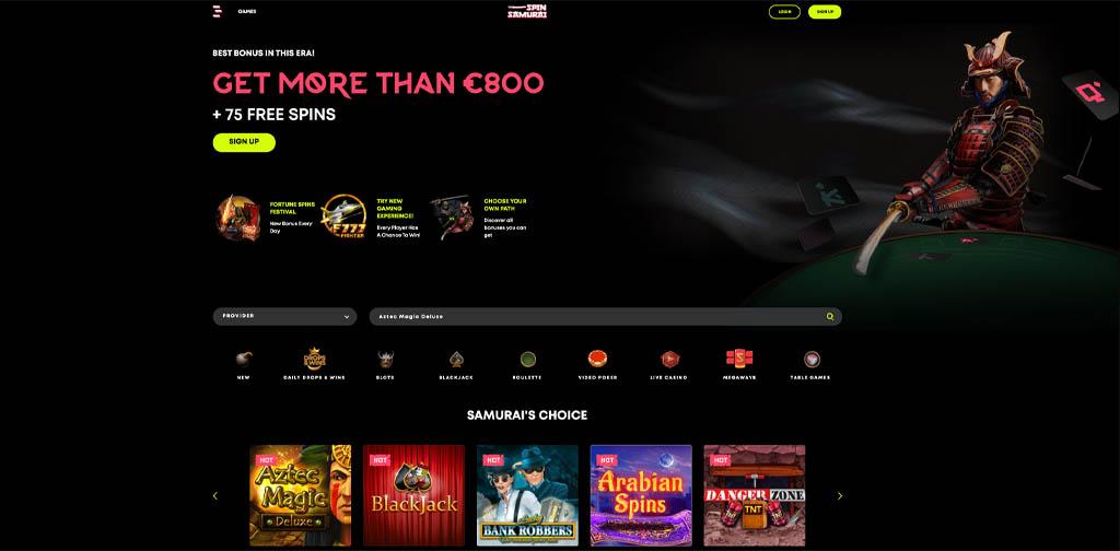 screenshot spin samurai interface