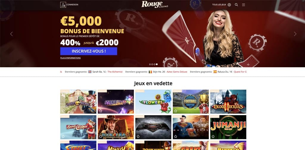 screenshot rouge casino interface